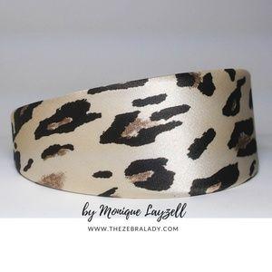 Accessories - Cream Brown Satin Ombre Leopard Headband
